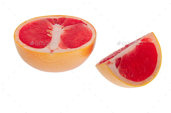 Fresh grapefruits on a white background - Stock Photo - Images