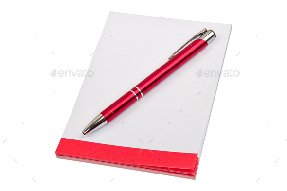 Paper block and pen on a white background - Stock Photo - Images