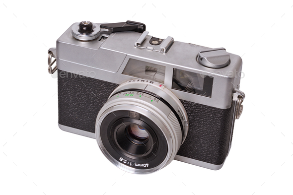 Classic film camera on a white background - Stock Photo - Images