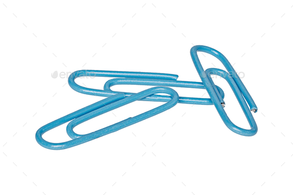 Blue paper clips on a white background - Stock Photo - Images