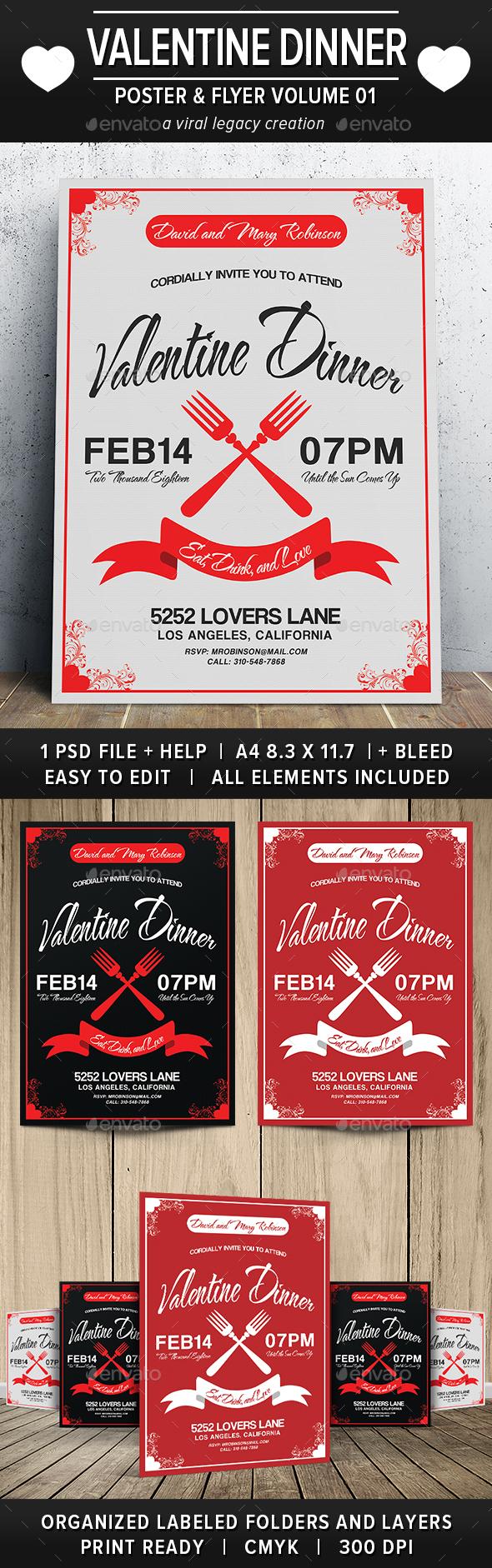 Valentine Dinner Poster / Flyer V01 - Cards & Invites Print Templates