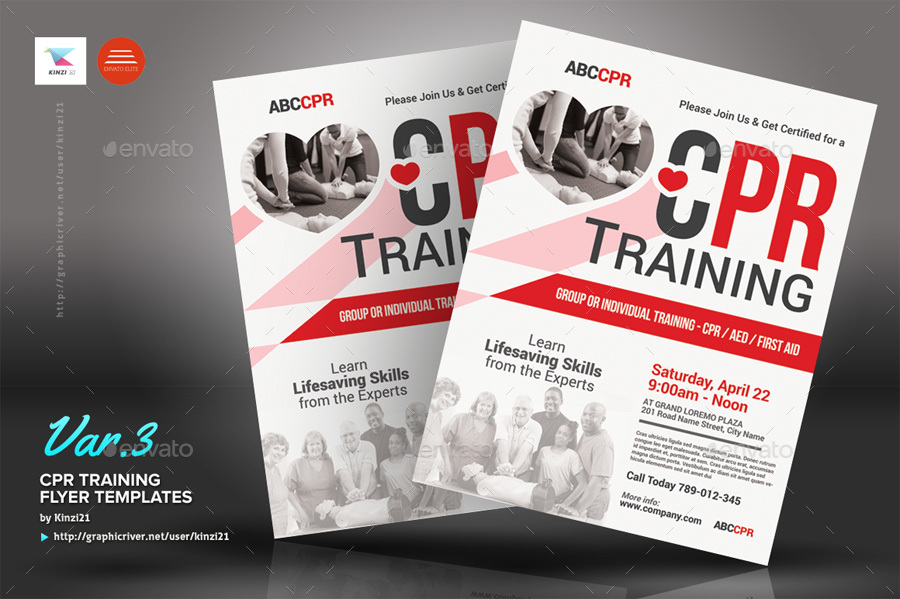 CPR Training Flyer Templates by kinzi21 | GraphicRiver