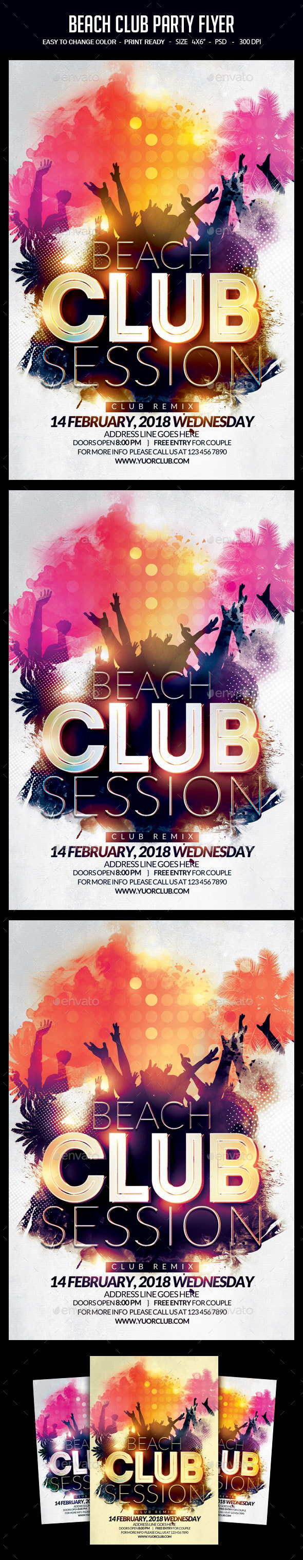 Beach Club Party Flyer - Clubs & Parties Events