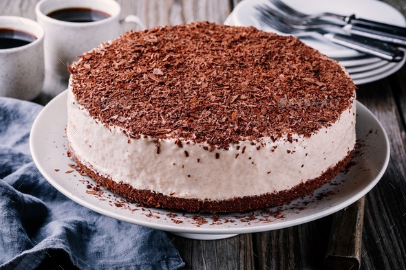 No-bake chocolate cheesecake on a plate - Stock Photo - Images