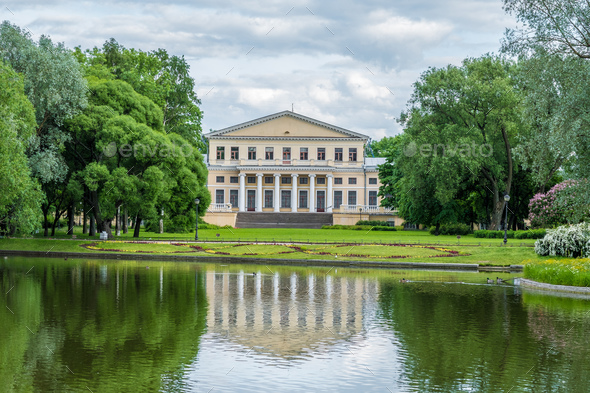 View of pond, park and Yusupov  palace in Yusupov Garden - Stock Photo - Images
