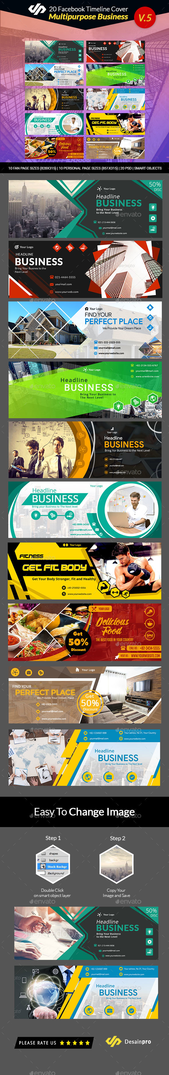 20 Multipurpose Facebook Timeline Covers V5 - AR - Facebook Timeline Covers Social Media
