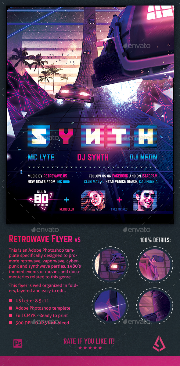 Synthwave Flyer v5 - Inception Retrowave Series Poster Template - Clubs & Parties Events