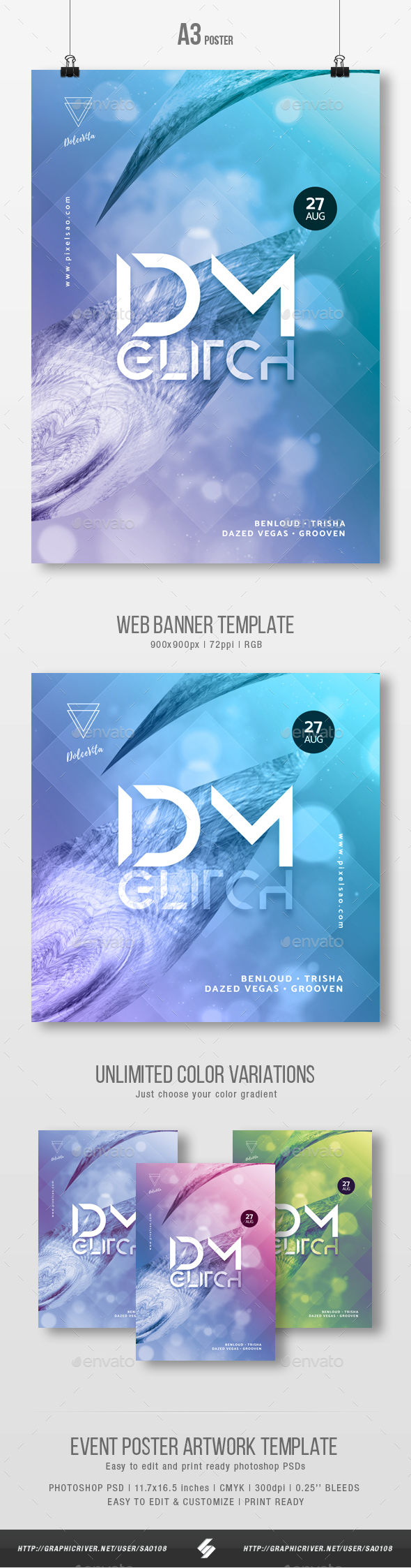 Idm Glitch - Abstract Party Flyer / Poster Artwork Template A3 - Clubs & Parties Events