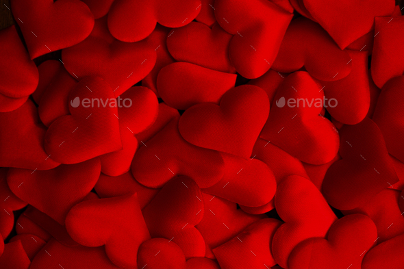romantic background with red silk hearts - Stock Photo - Images