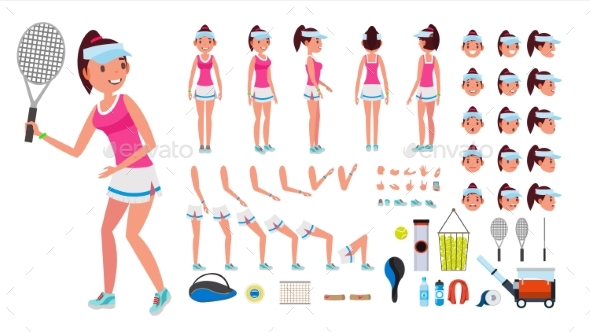 Tennis Player Female Vector - People Characters