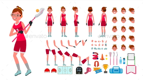 Lacrosse Player Female Vector - People Characters