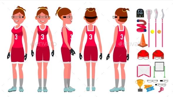 Women s Lacrosse Vector. Lacrosse Practice - People Characters