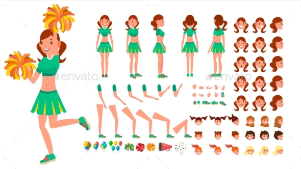 Cheerleader Girl Vector. Animated Character - People Characters