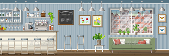 Classic Coffee Shop Panorama - Miscellaneous Vectors
