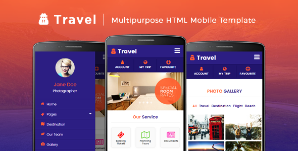 Travel - Multipurpose HTML Mobile Template
