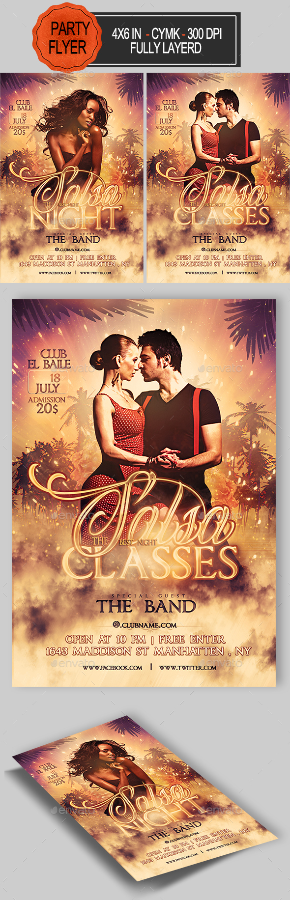 Salsa Party Flyer Template - Clubs & Parties Events