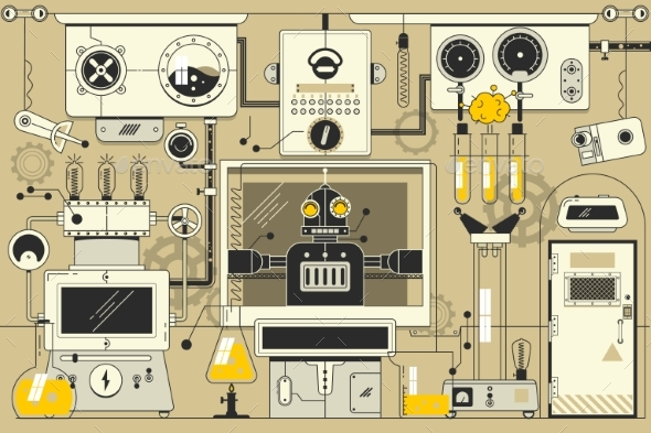 Abstract Futuristic Electronic Laboratory - Technology Conceptual