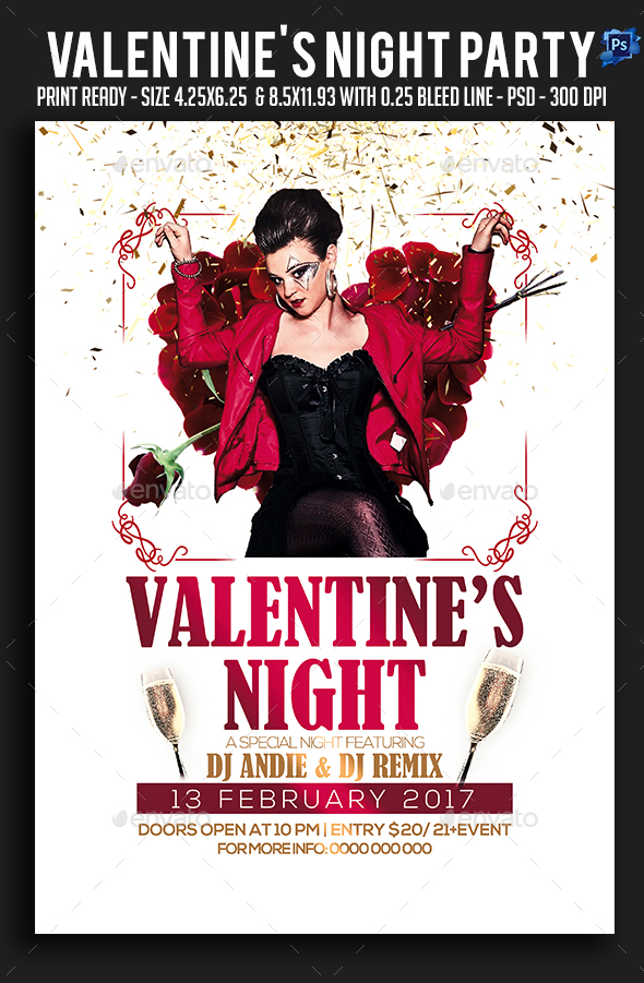 Valentine's Night Party Flyer - Clubs & Parties Events