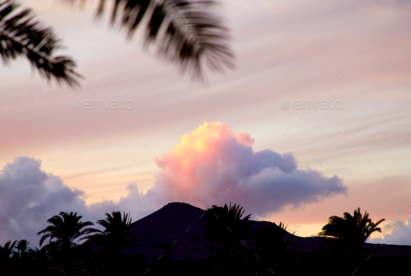 Sunset in Lanzarote, Canary Islands, Spain - Stock Photo - Images