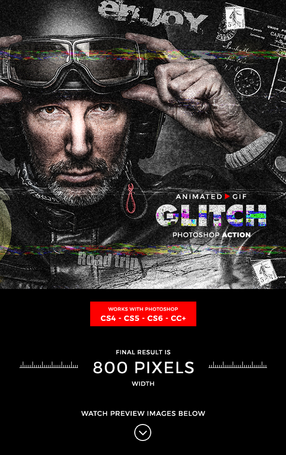 Animated Glitch Photoshop Action - Photo Effects Actions