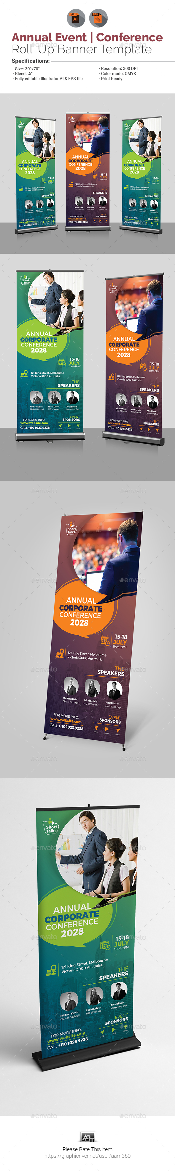 Annual Corporate Conference Roll-Up Banner Template - Signage Print Templates