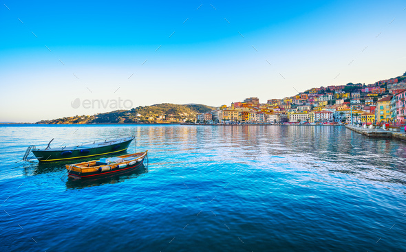 Wooden small boats in Porto Santo Stefano seafront. Argentario, - Stock Photo - Images