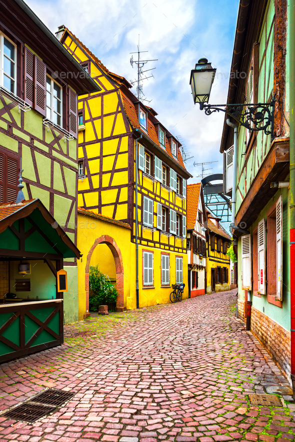 Colmar, Petit Venice, street and traditional houses. Alsace, Fra - Stock Photo - Images