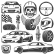 Vintage Car Racing Icons Set