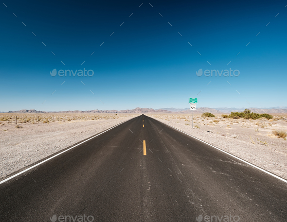 Open highway in Nevada desert - Stock Photo - Images