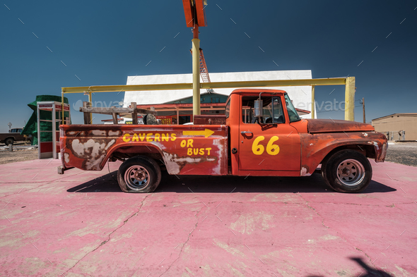 Old car near historic route 66 in California - Stock Photo - Images