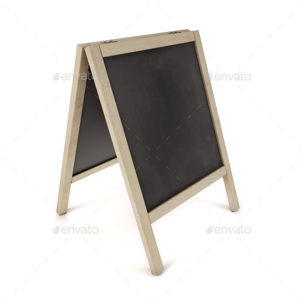 Blank chalk board on stand. 3d illustration - Stock Photo - Images