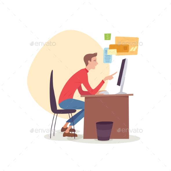 Man Sitting in Office Working with Computer - Miscellaneous Vectors