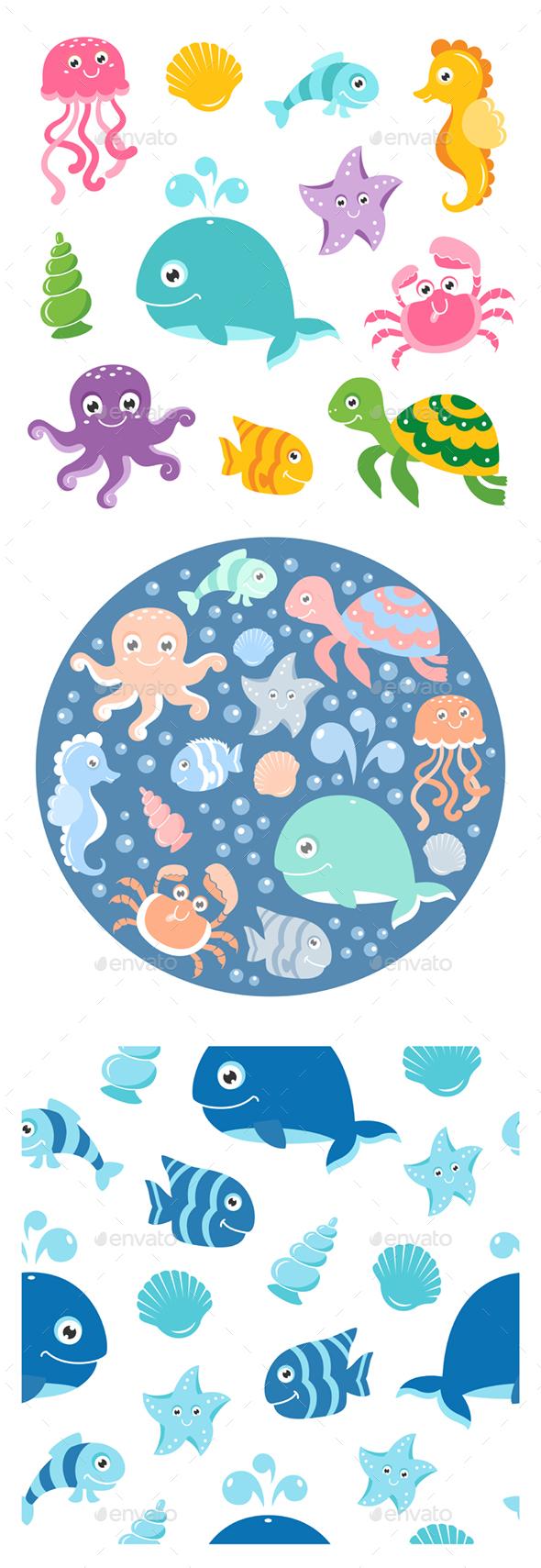 Sea Animals Set - Animals Characters