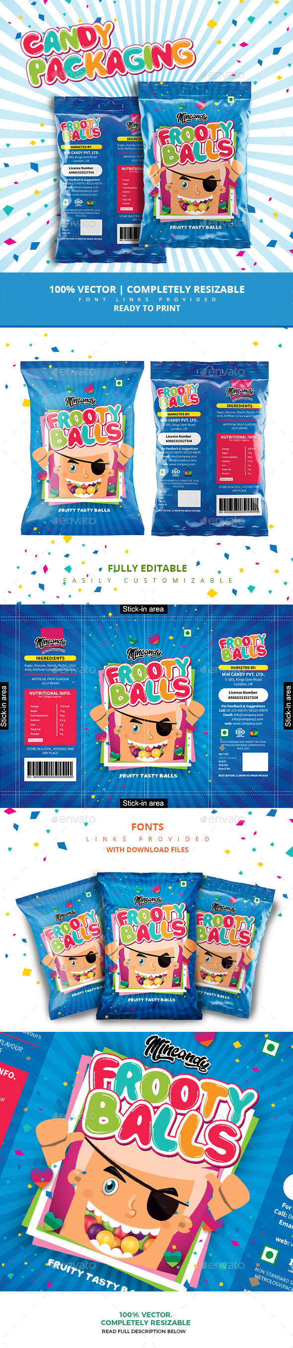 Fruit Balls Candy Packaging - Packaging Print Templates
