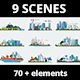 9 Urban Scenes And  More  Then 70  Infographic Elements - VideoHive Item for Sale
