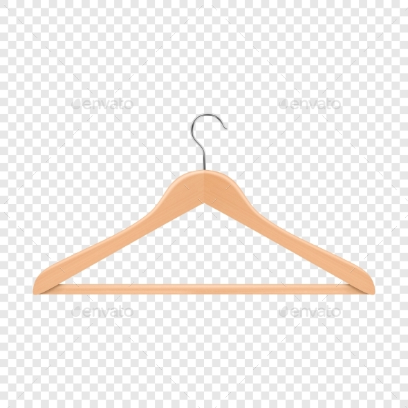 Realistic Vector Clothes Coat Wooden Hanger - Man-made Objects Objects