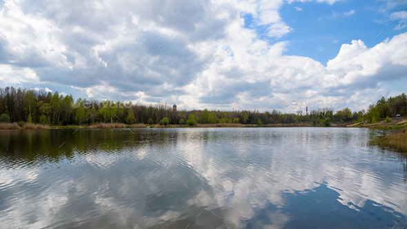 Borki lake on the border between Sosnowiec and Katowice cities - Stock Photo - Images