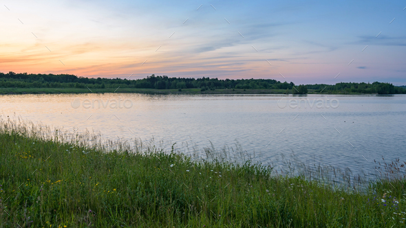 Pogoria 4 lake at sunset - Stock Photo - Images