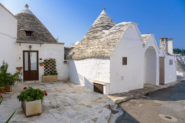 Trulli houses in Alberobello town - Stock Photo - Images