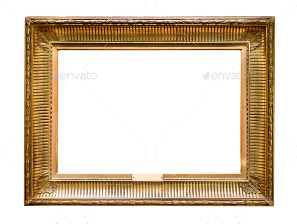 Gold decorative picture frame isolated on white - Stock Photo - Images