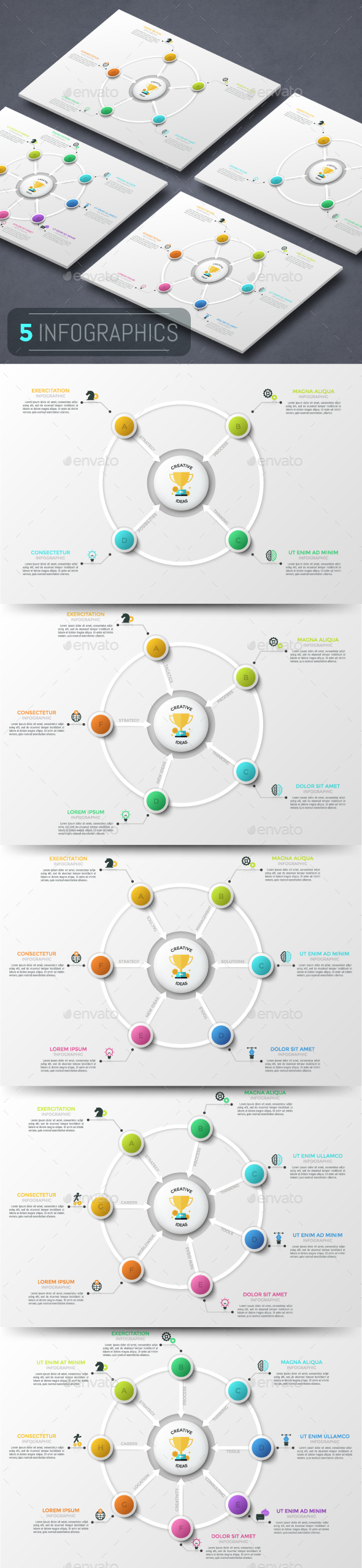 Modern Infographic Cycle Templates (5 Items) - Infographics