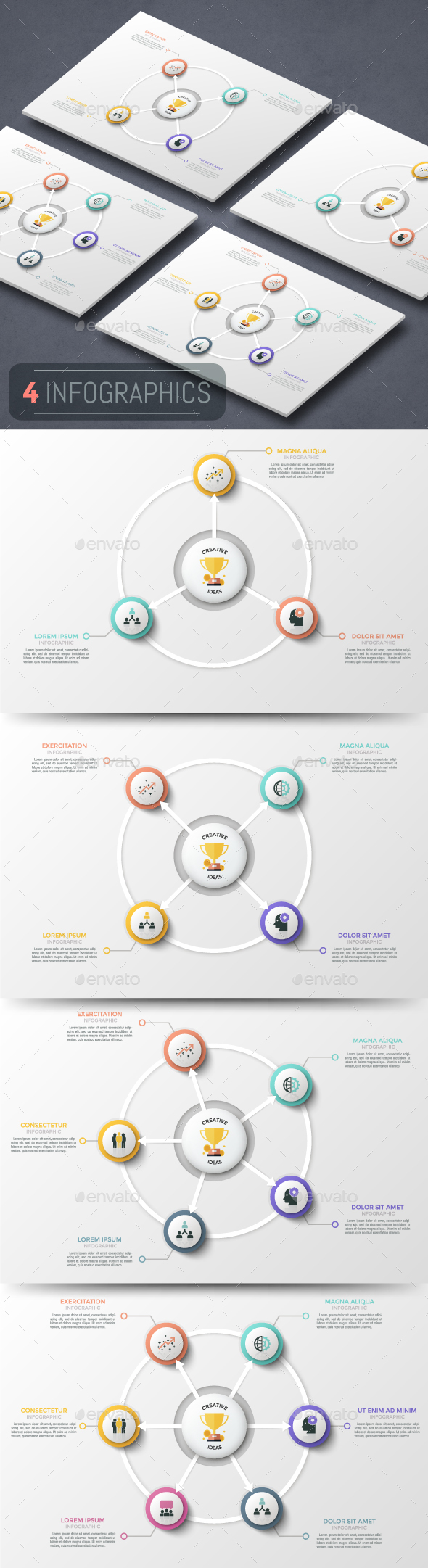 Modern Infographic Cycle Templates (4 Items)