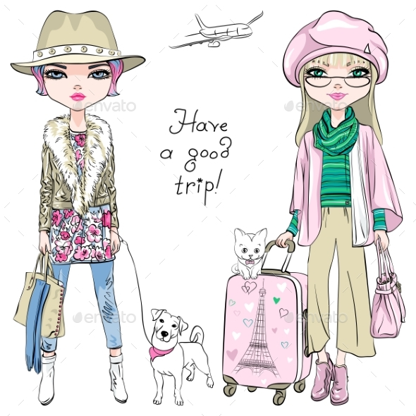Fashion Girls Travel the World - Miscellaneous Vectors