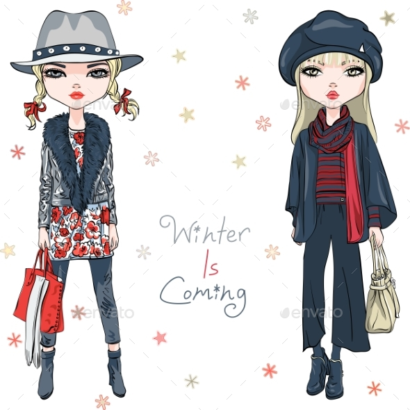 Vector Fashion Girls in Winter Clothes - Miscellaneous Vectors
