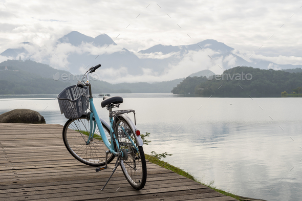 Bicycle with the beautiful view at the sun moon lake bike trail - Stock Photo - Images