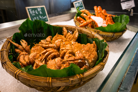 Red king crab on ice in the restaurant at Taiwan's famous aquatic market - Stock Photo - Images