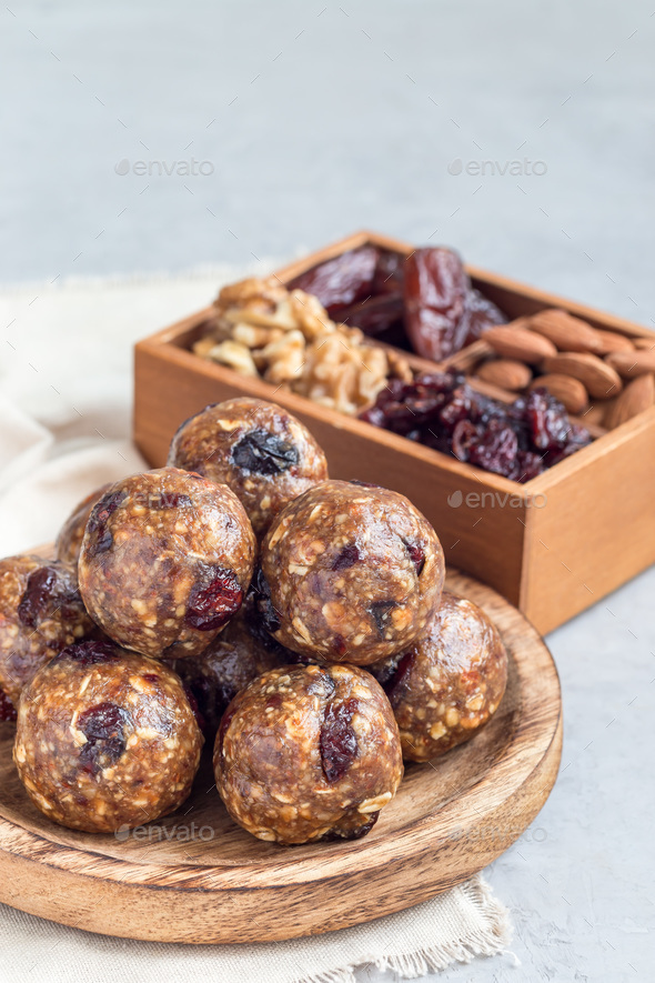 Healthy homemade energy balls, vertical, copy space - Stock Photo - Images