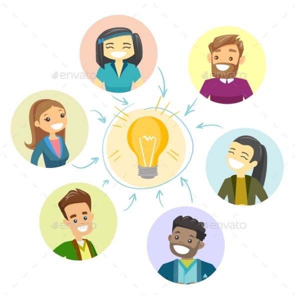 Group of Businessmen Discussing Business Idea - People Characters