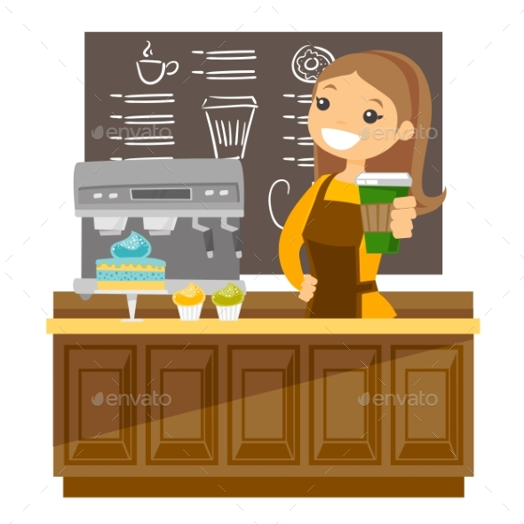 Young Barista Making a Cup of Coffee - People Characters