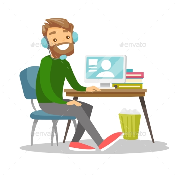 Man Using Headset and Computer in Call Center - People Characters